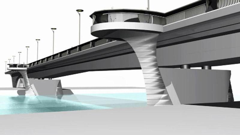 Vizualizace návrhu nového mostu v Brandýse