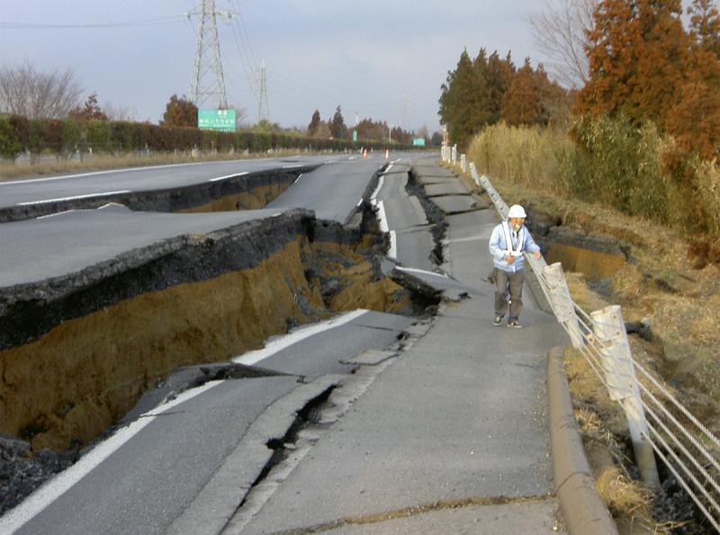 Silnice do Ibaraki po zemětřesení