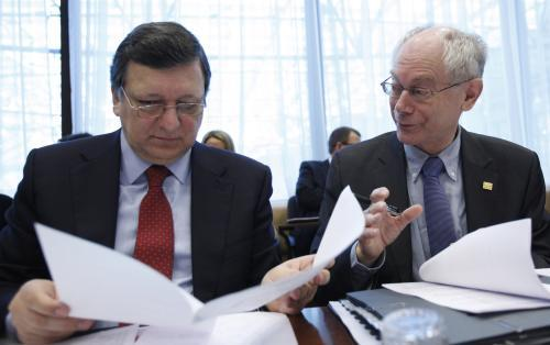 Jose Manuel Barroso a Herman Van Rompuy na summitu EU