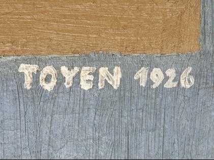 Podpis Toyen na obraze Geometrická kompozice