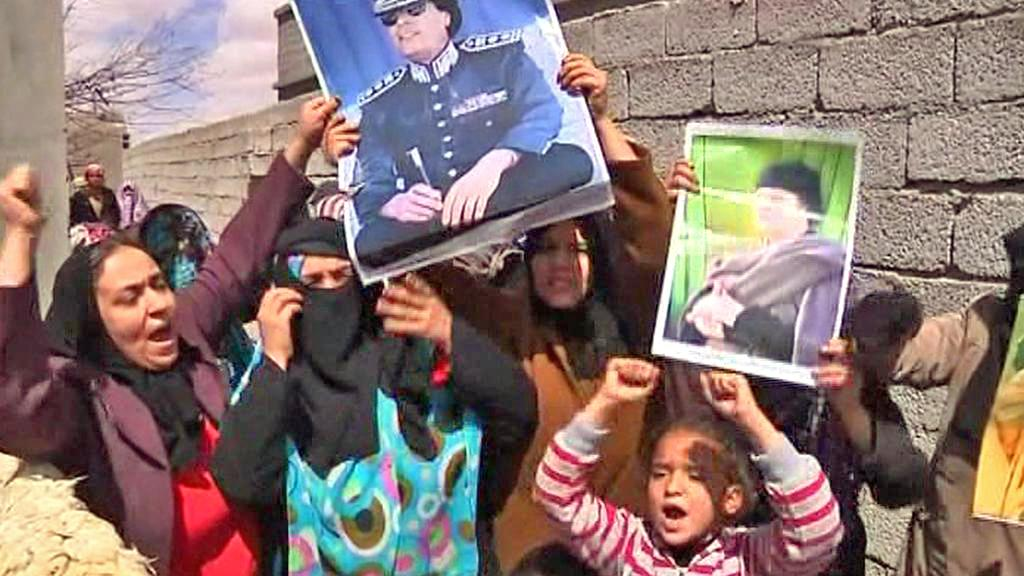 Demonstrace příznivců Muammara Kaddáfího