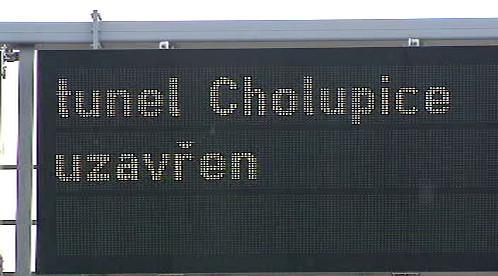 Tunel Cholupice uzavřen