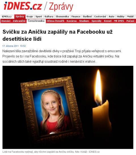 Zpravodajství idnesu.cz o smrti Anny Janatkové