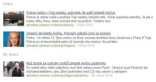 Zpravodajství Aktuálně.cz o smrti Anny Janatkové
