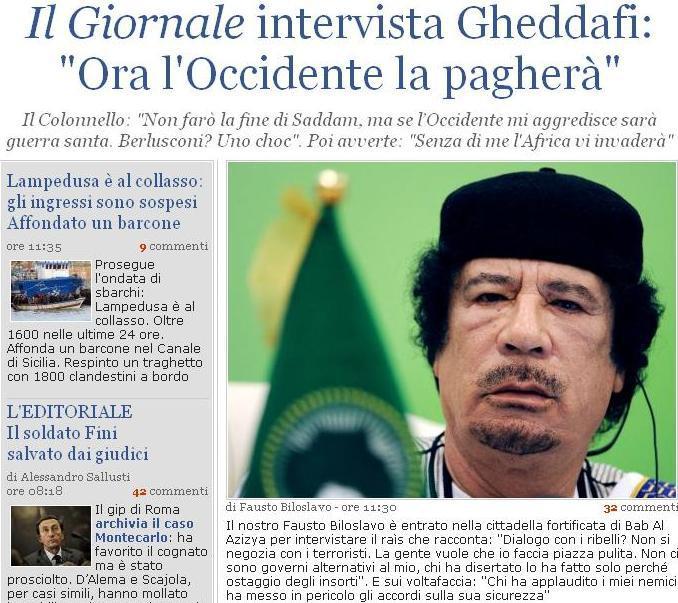 Rozhovor listu Il Giornale s Muammarem Kaddafím