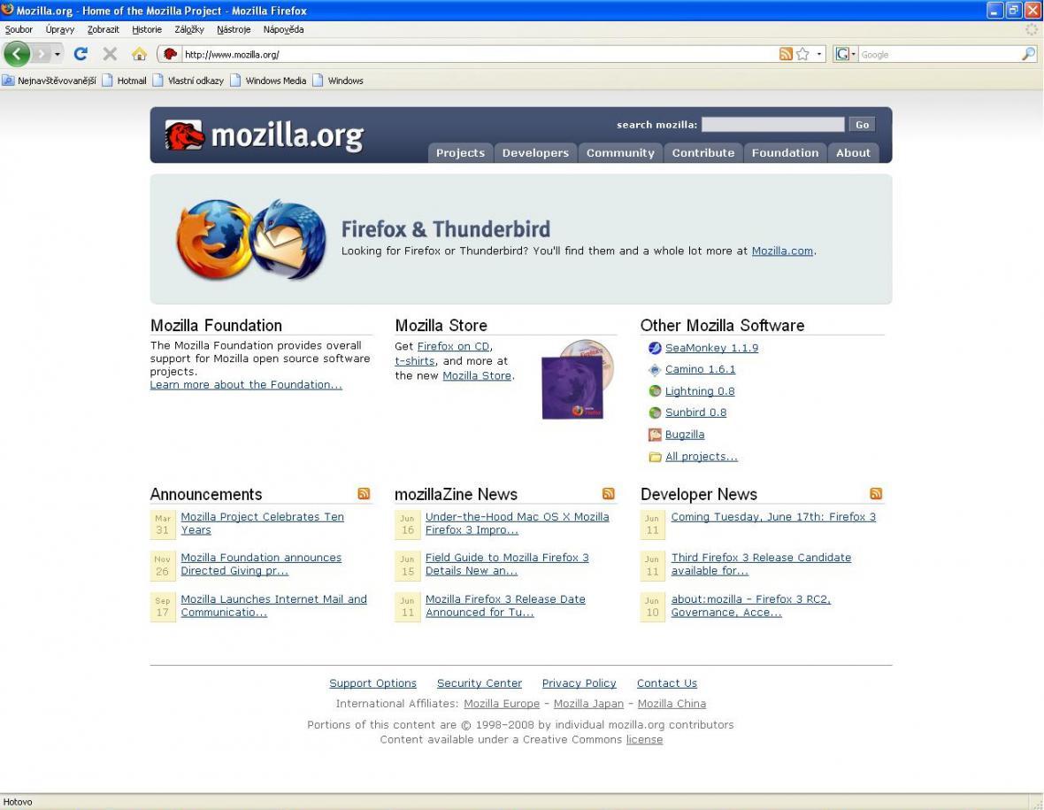 Vzhled prohlížeče Mozilla Firefox 3.0