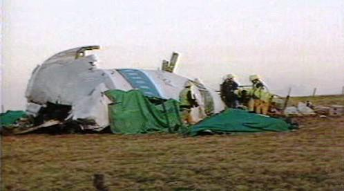 Trosky amerického letadla v Lockerbie