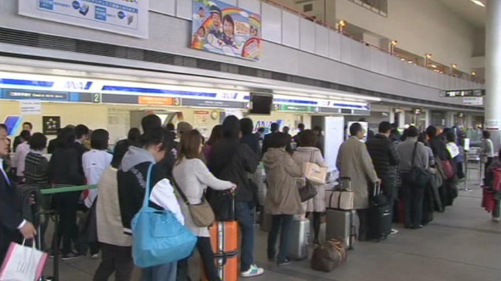 Přeplněné letiště ve Fukušimě