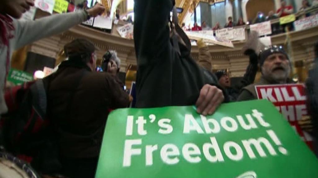 Protest ve wisconsinském parlamentu
