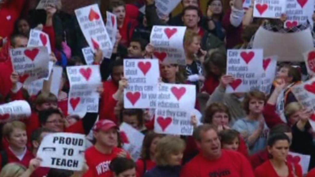 Protest proti úsporným opatřením ve Wisconsinu