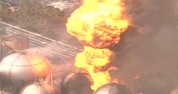 Požár po zemětřesení v Japonsku