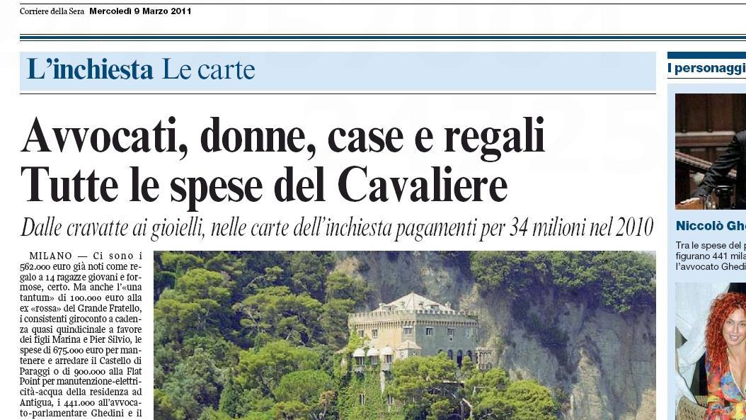 Corriere della Sera o Berlusconiho výdajích