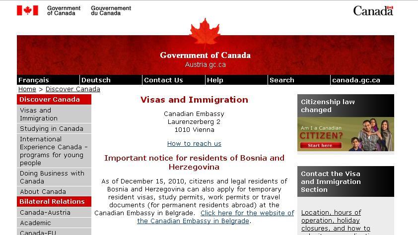 Webové stránky kanadského velvyslanectví ve Vídni