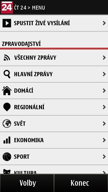 ČT24 v systému Symbian 3