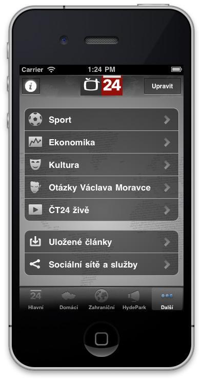 Aplikace ČT24 pro iPhone
