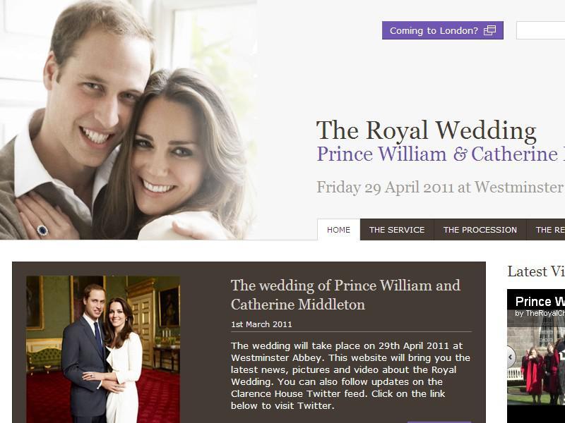 Webové stránky o královské svatbě