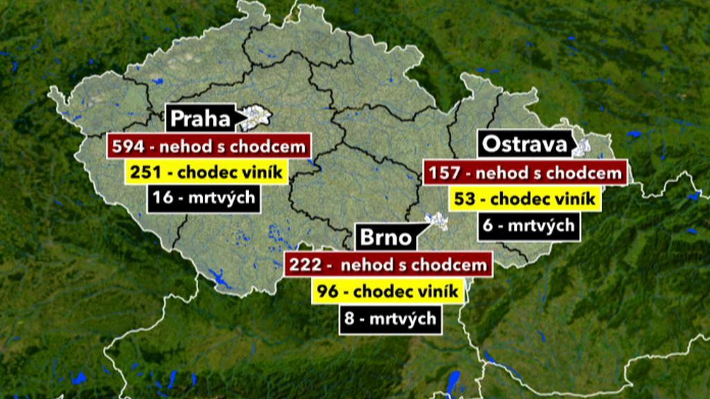 Nehody v největších městech
