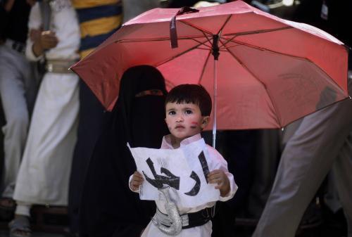 Jemenský chlapeček žádá odchod prezidenta