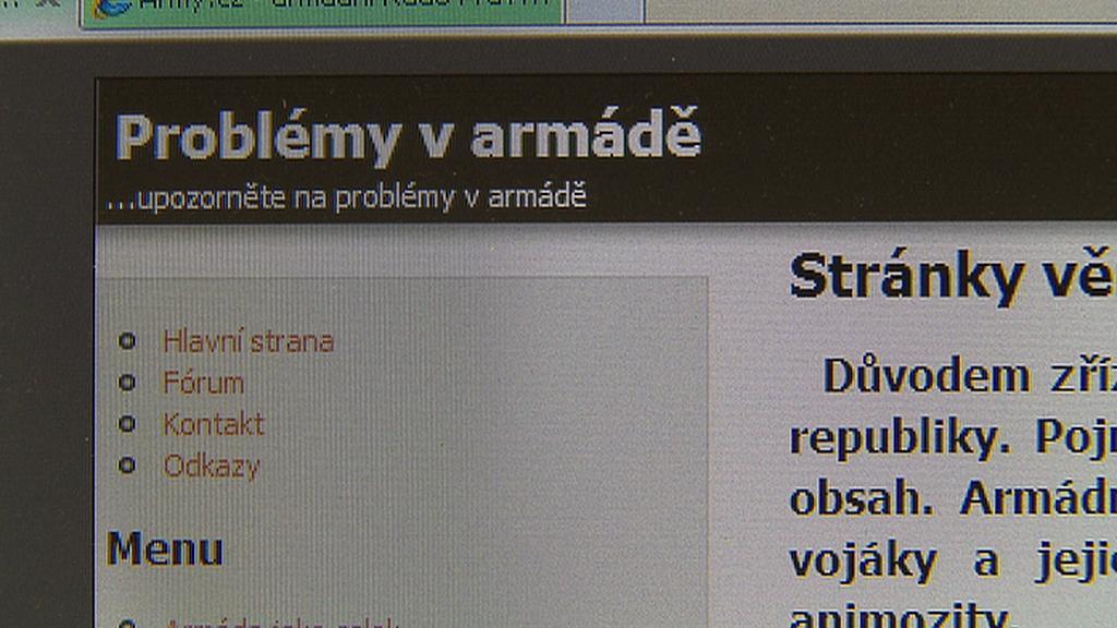 Stránka informující o problémech v armádě