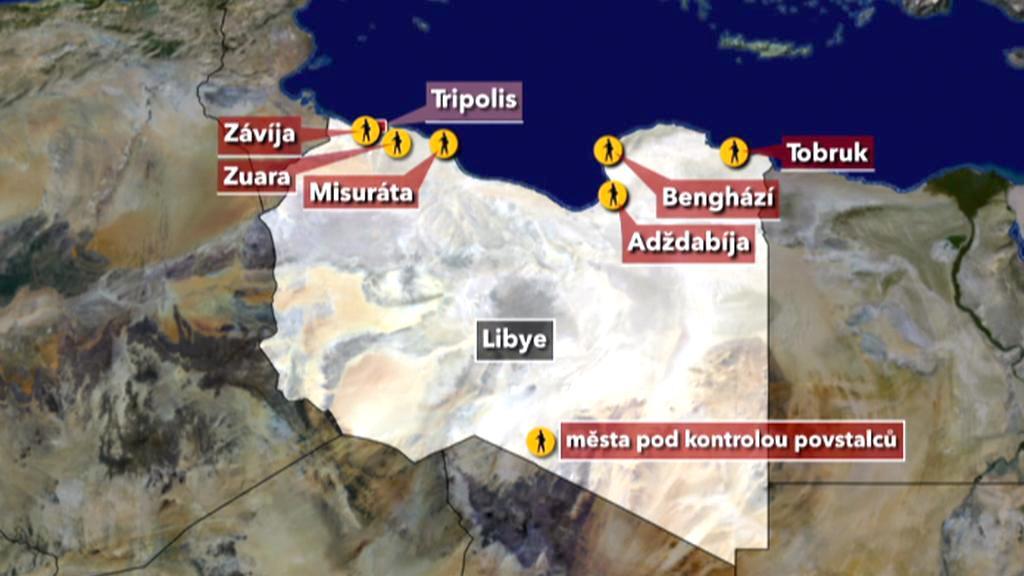 Mapa bojů v Libyi