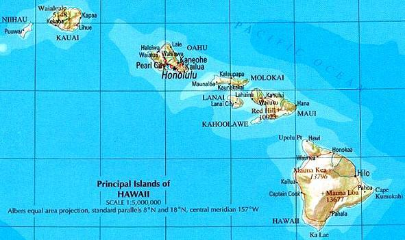 Mapa Havajských ostrovů