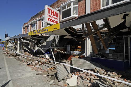Škody po otřesech půdy ve městě Christchurch