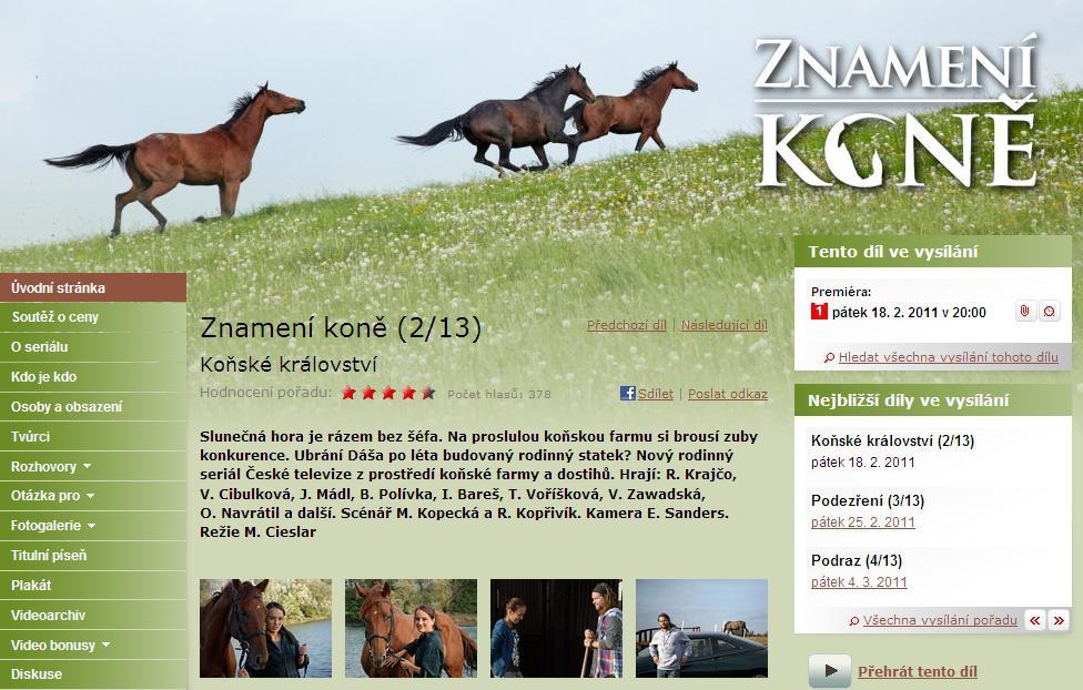 Web seriálu Znamení koně