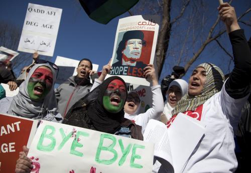 Protesty proti Muammaru Kaddáfímu v USA