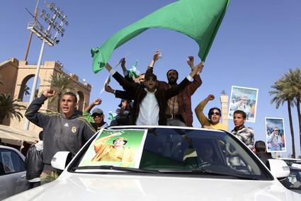 Provládní demonstranti v Lybii