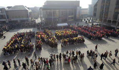 Protest mladých Belgičanů proti vládní krizi