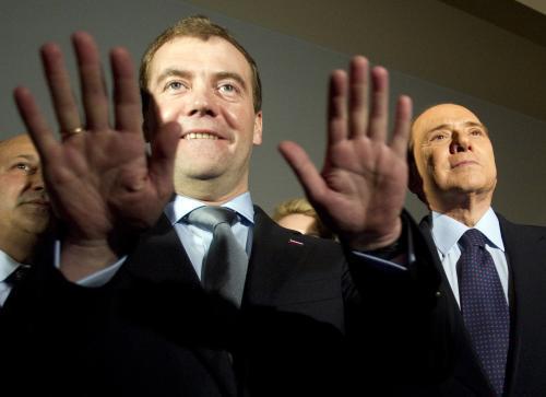 Dmitrij Medvěděv a Silvio Berlusconi
