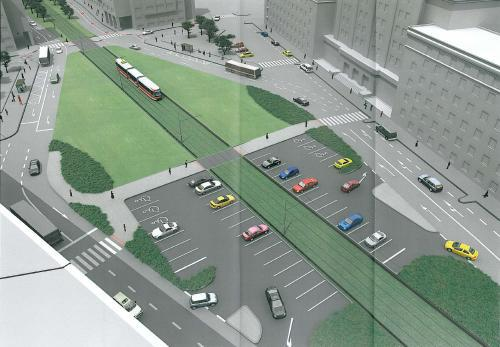 Vizualizace stavby tramvajové trati