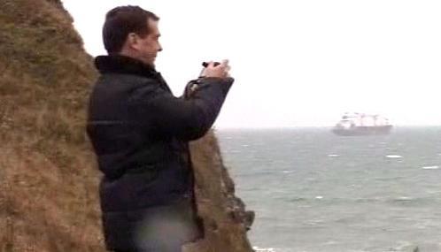 Dmitrij Medvěděv na Kurilských ostrovech