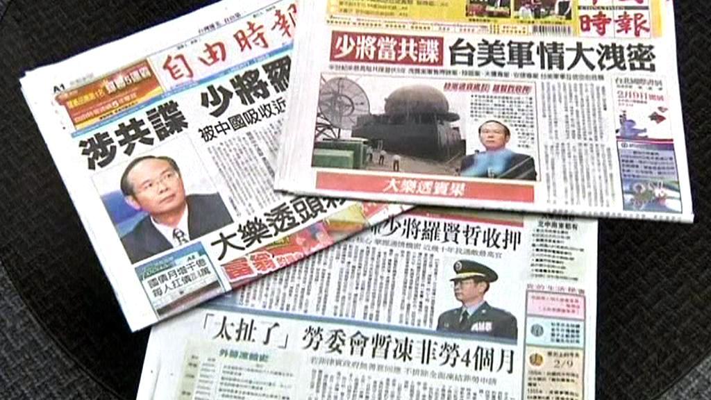 Tchajwanský tisk o případu špionáže pro Čínu