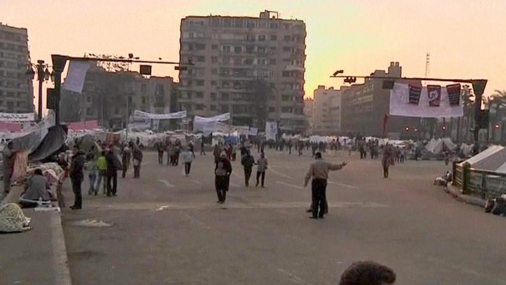 Egyptští demonstranti na náměstí Tahrír