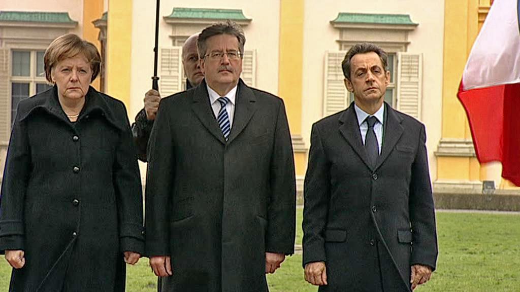 Angela Merkelová, Bronislaw Komorowski a Nicolas Sarkozy