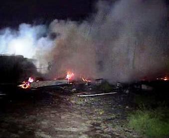 Požár romského tábora