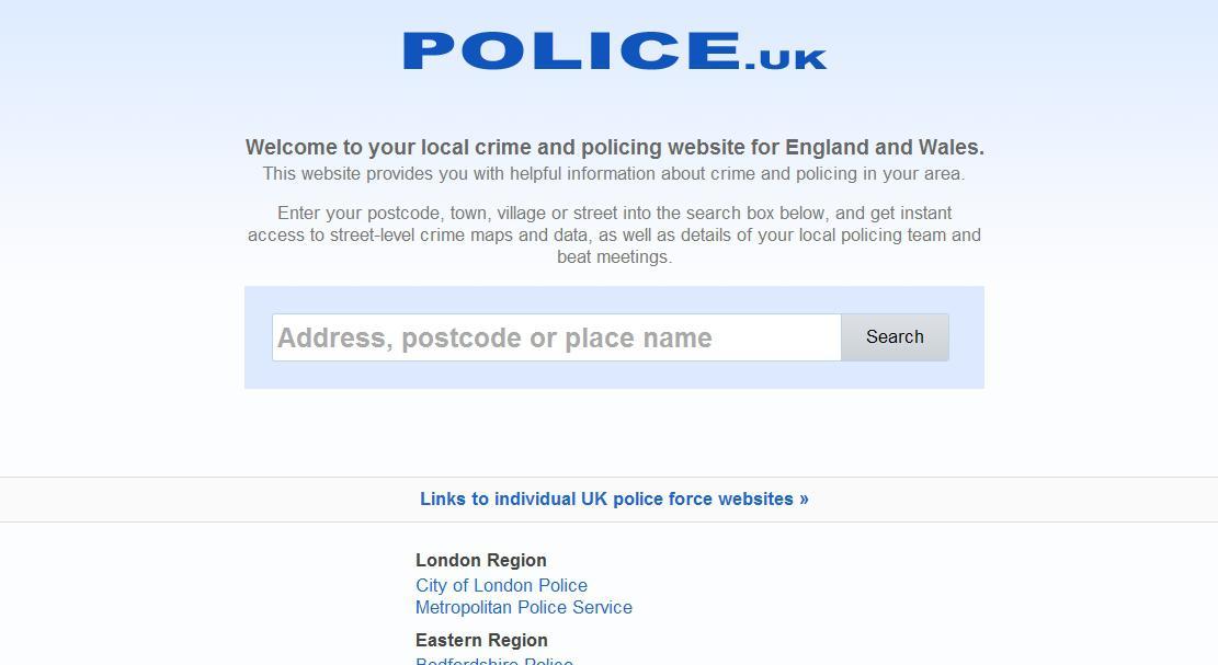 Vyhledávání britských statistik zločinnosti