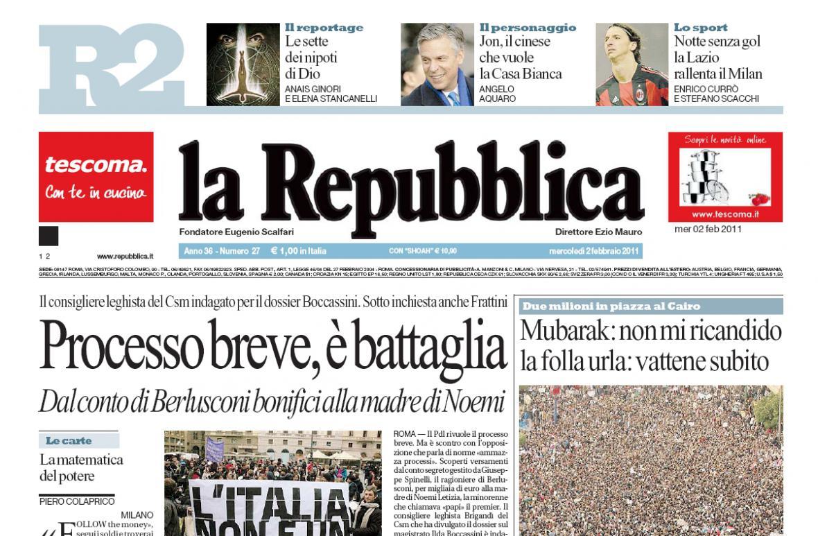 La Repubblica z 2. února 2011