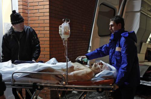 Zraněný po útoku na letišti Domodědovo