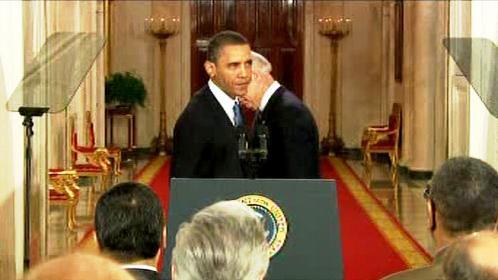 Barack Obama a Joe Biden při slavnostním podpisu zdravotní reformy
