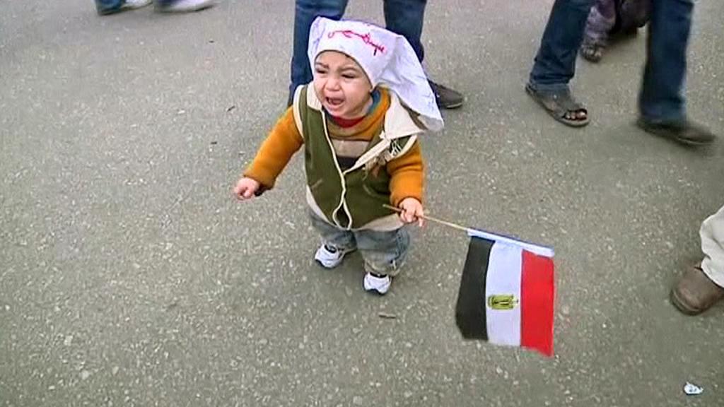 Malý egyptský demonstrant