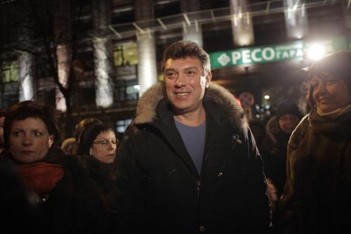 Boris Němcov na protivládní demonstraci