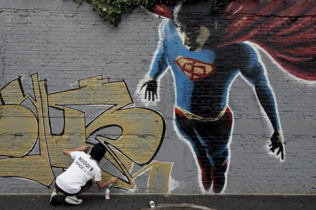 Superman jako graffiti