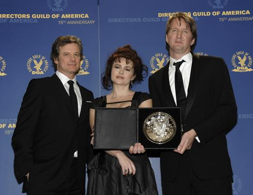 Colin Firth, Helena Bonhamová Carterová a Tom Hooper
