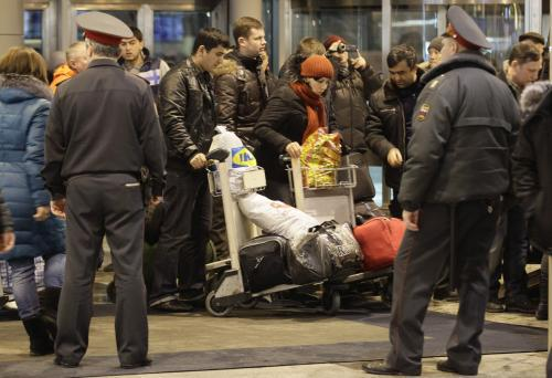 Cestující na letišti Domodědovo