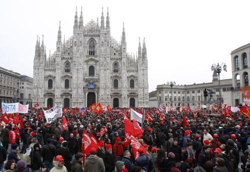 Demonstrace zaměstnanců Fiat