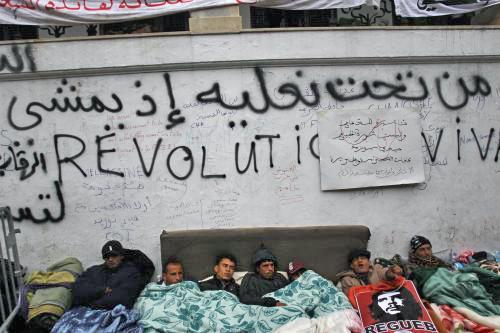 Protest před sídlem tuniského premiéra