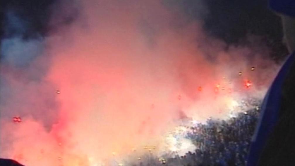 Řádění polských fotbalových chuligánů