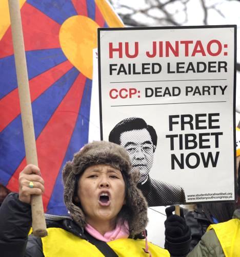 Washingtonský protest proti návštěvě Chu Ťin-tchaa